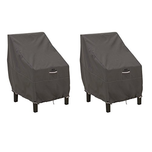 Classic Accessories Ravenna Water-Resistant 25.5 Inch High Back Patio Chair Cover, 2 Pack