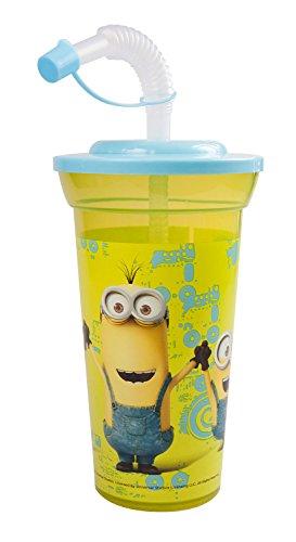 POS 24049 - Trinkbecher mit lustigem Minions Motiv, Kinderbecher mit Strohhalm, Fassungsvermögen ca. 450 ml, aus Kunststoff BPA-frei, für Kinder, Jungen und Mädchen