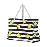 Mnsruu - Bolsa de playa XXL, rayas blancas y negras con estrellas para hombro, bolsa de playa, asas de cuerda de algodón, bolsa de viaje para mujer