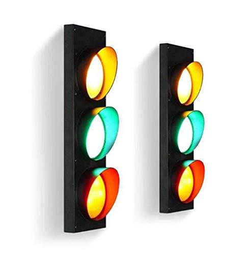 ONLYU Kreative Ampelanlagen Schilder Beleuchtung, LED-Warnung Rot Grün-Wand-Lampe Mit Fernbedienung, Industrie-Retro-Lampen Eisen Dekorative Bar Signal Wandleuchte