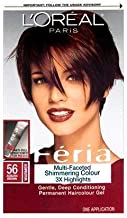 L'Oréal Paris Feria Multi-Faceted Shimmering Permanent Hair Color, 56 Brilliant Bordeaux (Auburn Brown), 1 kit Hair Dye