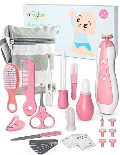 OTTOLIVES Baby Healthcare and Grooming Kit, 24 in 1 Baby Electric Nail Trimmer Set Newborn Nursery Health Care Set for Newborn Infant Toddlers Baby Boys Girls Kids Haircut Tools (0-3 Years+) (Pink)