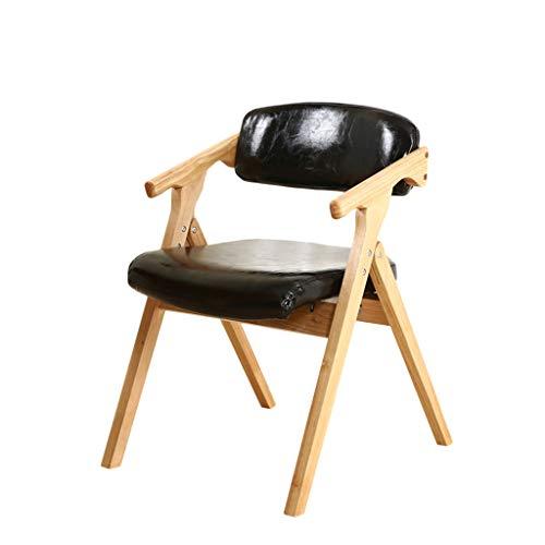 TD26 Chaise pliante en bois massif PU cuir hêtre noir, coussin éponge haute élasticité, moderne minimaliste maison salon chambre salle à manger chaise d'ordinateur, 75 * 54cm