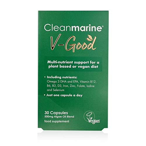 Cleanmarine V-Good - Multi-Nutrient Support for Plant Based Diets - Omega 3 with Vitamin D3, B3, B6, B12, Folate, Iodine, Selenium, Iron and Zinc – Vegan – One A Day – 30 Capsules