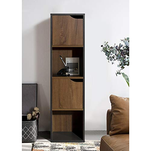 FurnitureR Estantería de exhibición independiente, estante de almacenamiento de 4 cubos con 2 puertas, gabinete de almacenamiento para libros, fotos, estante de almacenamiento organizador para la sala de estar de la oficina en casa Industrial y Negro