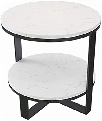 C-J-Xin Hotel Coffee Table, Marble Pattern Metal Stand Double Layer Little Round Table Lounge Reception Sales Department Negotiating Table Save Space (Color : B, Size : 50 * 55CM)