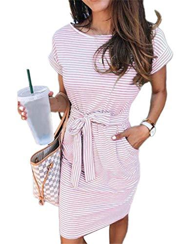 ECHOINE Women's Summer Striped Dresses, Short Sleeve T Shirt Dress Casual Tie Waist with Pockets Pink