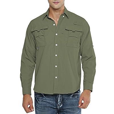 Asfixiado Men's UPF 50+ UV Sun Protection Shirt,Long Sleeve Fishing Shirt Cooling Hiking #5022 Army Green-L