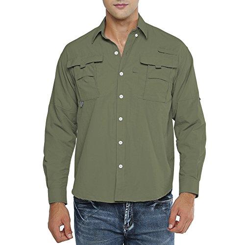 Jessie Kidden Camisa de manga larga para hombre, UPF 50+ protección solar al aire libre, ligera, de secado rápido, camisas de pesca (5052 verde militar, XXL)