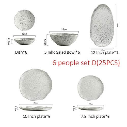 Teller Keramik Teller Dish Beige Salatschüssel Retro Porzellanteller Haushaltsgeschirr Essteller 6Peoplesetd
