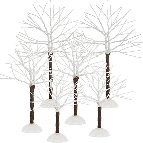 WILLBOND 6 Pieces Snow Covered Village Trees, Village Bare Branch Trees Accessory Figurine in 3 Sizes for Christmas Tree Displays, Dioramas, Fairy Gardens, Village Displays and Holiday Dollhouses