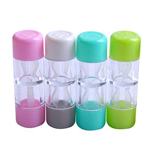 Healifty Kontaktlinsen-Aufbewahrungsbox 4 Stück Mini Travel RGP harte Kontaktlinsenbehälter Schutzbox Kosmetik Kontaktlinsenbehälter Halter (Rosa, Weiß, Blau und Grün)