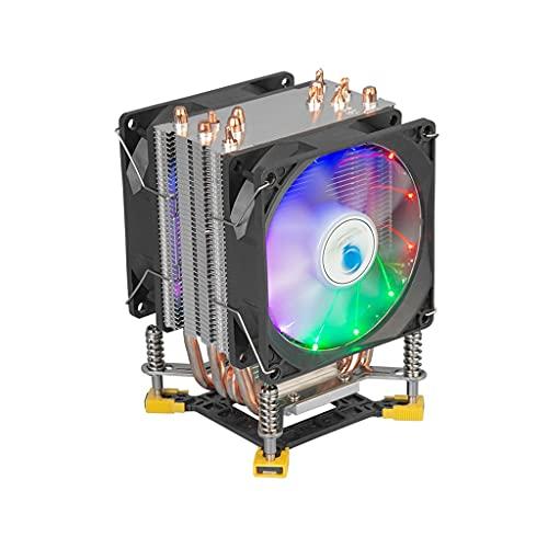 WCN Ventilador Refrigerador de CPU con 6 computadoras de Calor de Contacto Directo y Dos refrigerador de Aire Dual Torre Dual Compatible con Ventilador de 90 mm PWM Multi CPU Ventiladores