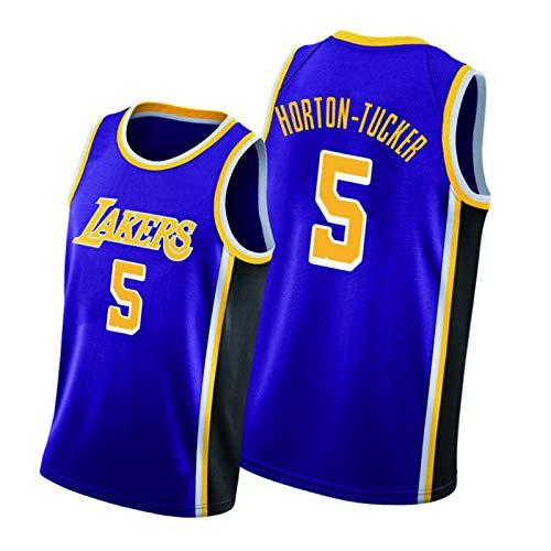 HTKJG Lakers 4#Caruso 9#Rondo - Maillots de baloncesto para hombre, diseño vintage púrpura de los fans Uniforme, City Edition sin mangas, camiseta de malla transpirable chaleco 5#Horton-Tucker-L