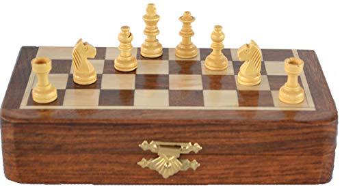 Ajuny Juego de ajedrez magnético de madera con piezas de ajedrez tablero de juego plegable con almacenamiento regalos para la familia 7x7 pulgadas