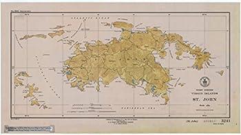 St John US Virgin Islands 1948 - Vintage Map Reproduction - Nautical Decor - Wall Art  13 x19