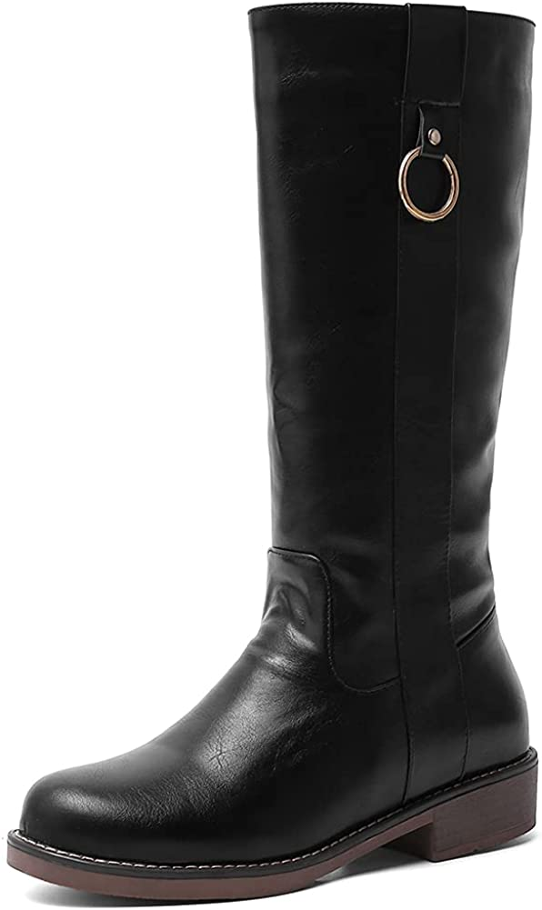 keleimusi Mid Calf Riding Boots for Women Wide Calf Fur Lined Winter Boots Round Toe Chunky Flat Pull-on Booties Shoes