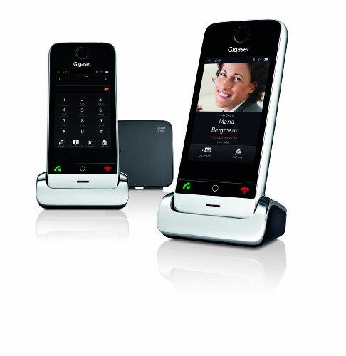 Gigaset SL910A Duo Telefon - Schnurlostelefon - 2 Mobilteile - mit Farbdisplay / Design Telefon - Anrufbeantworter - schnurloses Telefon - schwarz