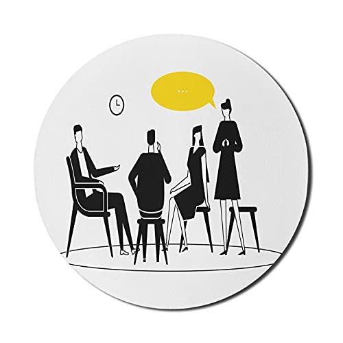 Psychologie-Mauspad für Computer, Zusammensetzung von Männern und Frauen, die Gefühle teilen, die auf Stühlen sitzen, rundes rutschfestes dickes Gummi-modernes Gaming-Mauspad, 8 'rund, Anthrazit grau