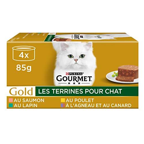 GOURMET - Les Terrines : Lapin, Poulet, Agneau-Canard, Saumon - 4x85g - Lot de 24