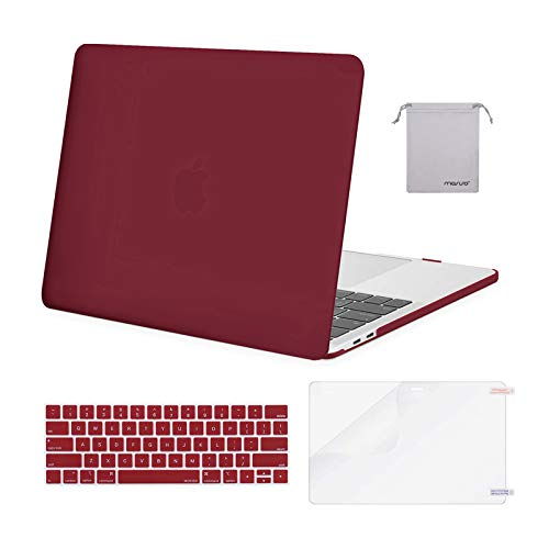 MOSISO MacBook Pro 13 inch Case 2019 2018 2017 2016 Release A2159 A1989 A1706 A1708, Plastic Hard Case&Keyboard Cover&Screen Protector&Storage Bag Compatible with MacBook Pro 13 inch, Wine Red