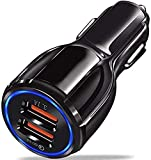 Dual USB Car Charger, by AIOKA - Qualcomm 2 Port Quick Charger v3.0 Quick Fast Car Charger 12-24V 32W 5V 6A / 9V 1.8A Compatible w/Phone/Android and Any Cell Phone-Black