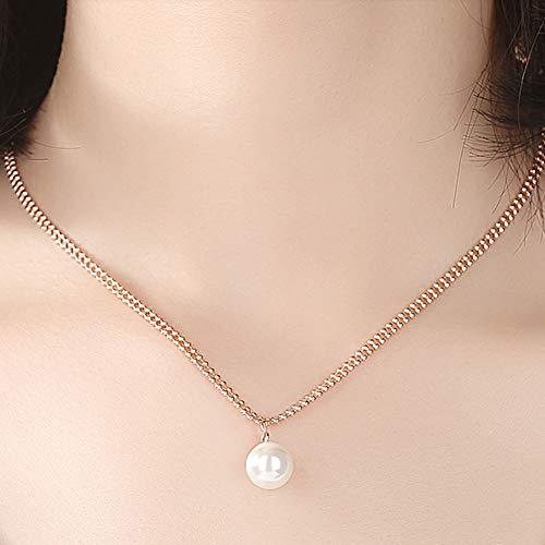 XIRENZHANG Collar de plata de ley 925 con perlas de agua dulce, color oro rosa, para regalo de novia