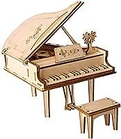 Qunqene 立体パズル 積み木 パズル DIY 木製 ブロック クラフト 子供 プレゼント 知育 学習玩具 (ピアノ)