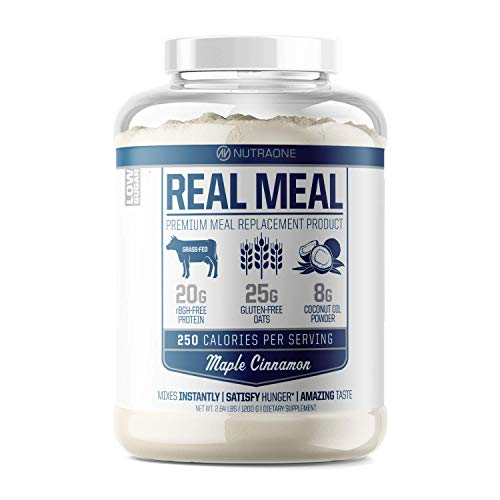 Real Meal by NutraOne - Lean Meal Replacement Powder for Weight Loss & Diet | Including Grass-Fed Whey, Coconut Oil and Organic Oats.* (Maple Cinnamon – 2.6 lbs.)