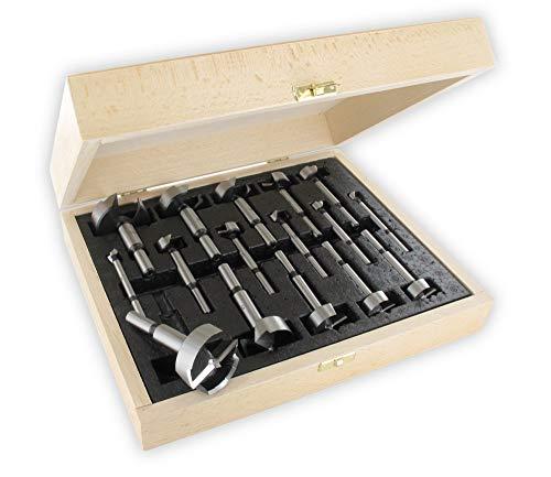 ENT 40316 Forstnerbohrer Premium-Ausführung Set 16-teilig geschmiedet, Durchmesser (D) 10-12-15-18-20-22-24-25-26-28-30-35-38-40-45-50 mm, S 10 mm