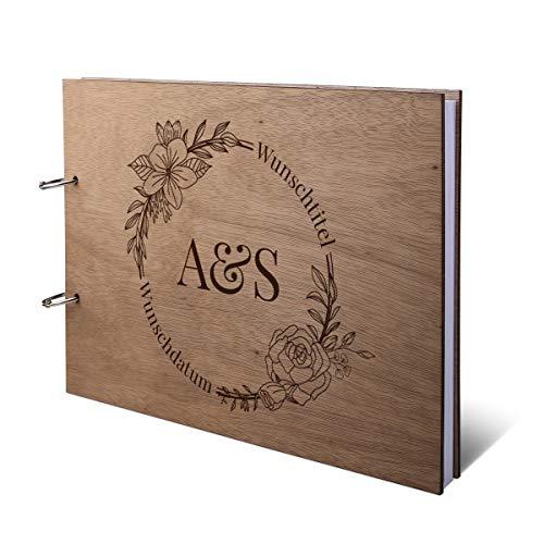 Hochzeit Gästebuch Okoume Holz Gravur individuell Holzcover mit 144 Naturpapier Innenseiten DIN A4 quer 305 x 215 mm - Blumen Initialen