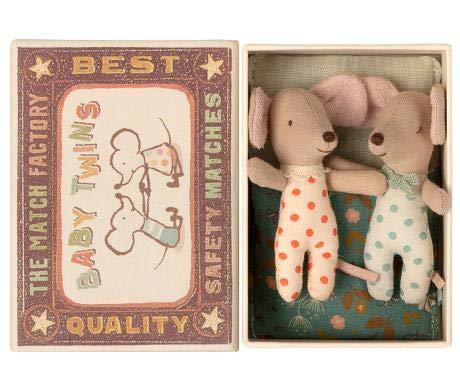 Maileg Twins Baby Maus Puppe Zwillinge in Einer Bettchen-Schachtel