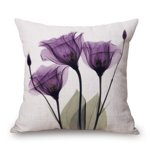 SODIAL(R) 45x45cm Modern Ink Painting Flower flax Throw Pillow Case Waist Cushion Cover purple