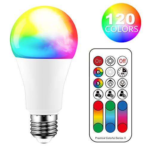 Lampadina LED cambia colore, 120 colori, equivalente a 70 Watt, strobo fai da te, bianco caldo 2700K RGB con telecomando, LED 10W A60 E27 vite