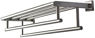 Premium Modern Double Hanging Quadruple Towel Bar Rack w/ Square Base (61 Centimeter)- Brushed Finish Stainless Steel Wate...