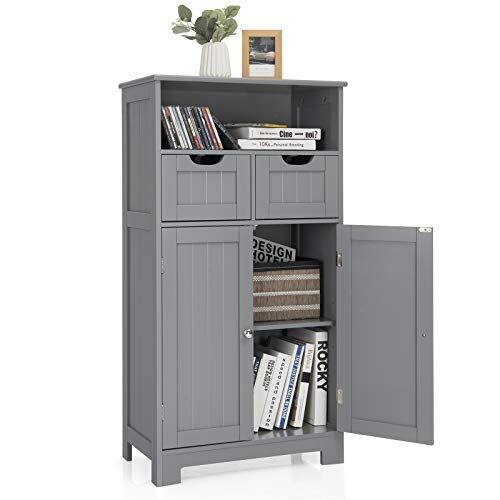 Tangkula Bathroom Floor Cabinet, Storage Cabinet w/One Open Shelf Two Doors and Two Adjustable Drawers, Standing Cupboard for Kitchen, Cabinet for Living Room Bathroom Bedroom Home Office (Grey)
