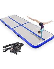 JFSKD Tumlande matta, uppblåsbar gymnastikmatta, träningsmattor med pump för gym/yoga/träning/barn/tumlar/park/fitness, 20 cm tjock, 600 x 200 x 20 cm
