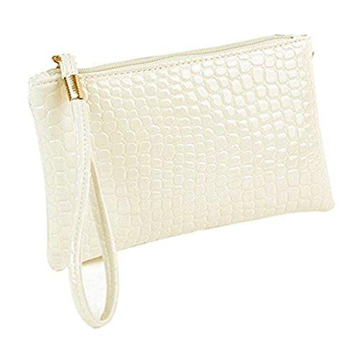 Damen Geldbörse Leder Elegant Portemonnaie,Rosennie Damen Geldbörse Luxus Brieftaschen Für Frauen Groß Kapazität,Portemonnaie mit Reißverschluss,Krokodilleder Clutch Handtasche Tasche (Weiß)