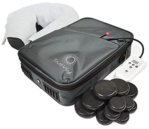 TrueVity Portable Massage Stone Warmer- Hot Stone Massage Kit with Travel Heating Bag, 12 Basalt Massage Stones, & Disposable Headrest Covers
