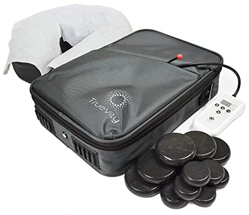 TrueVity Portable Massage Stone Warmer- Hot Stone Massage Kit with Travel Heating Bag, 12 Basalt...