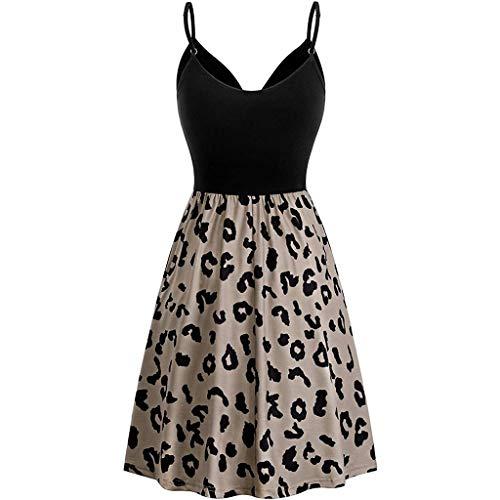 Inawayls Ärmelloses Kleid mit V-Ausschnitt für Damen Lässiges Sommerkleid mit Blumenmuster Patchwork Slim A-Line Minikleid mit Blumenmuster