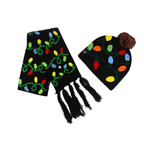 TENDYCOCO kinderen Kerstmis LED oplichtende muts gebreide muts sjaal set winter warm voor kinderen decoratief rood, 25 * 22cm, zwart.