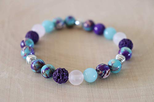 Size 7 inches Medium Essential Oil Bracelet Purple Pink Blue Diffuser Aromatherapy Wellness