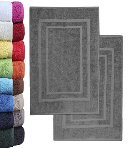 NatureMark 2er Pack Badvorleger Badematte | Premium Qualität | 100% Baumwolle | 50 x 80 cm | Duschvorleger Duschmatte Doppelpack | Farbe: Anthrazit grau