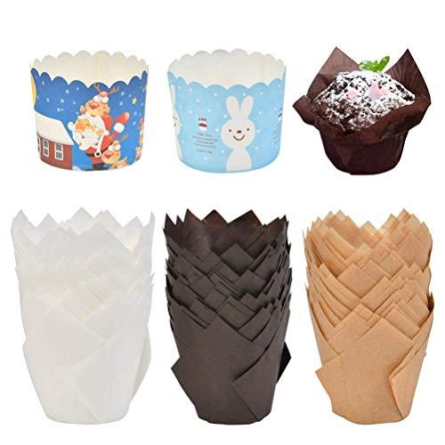 POKIENE 150 Stücke Muffins Papierförmchen in Tulpenform, fettdicht Backpapier, Backförmchen für Cupcakes, Dessert und Muffin (braun, natürlich und weiß)