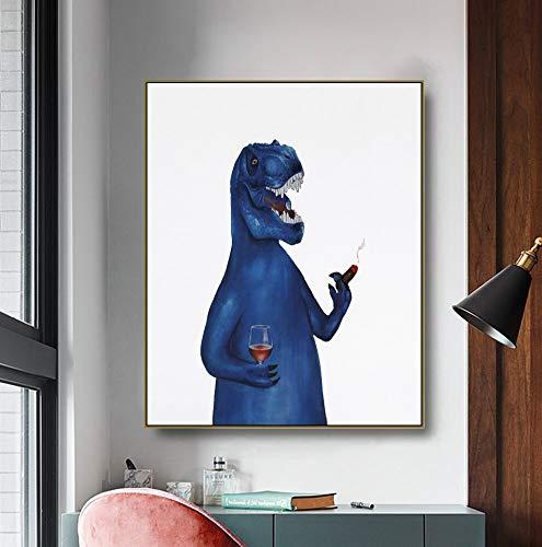 ganlanshu Divertido Dinosaurio Lienzo Arte Cartel Imagen Cartel Moderno salón decoración de la Pared,Pintura sin Marco,50x60cm