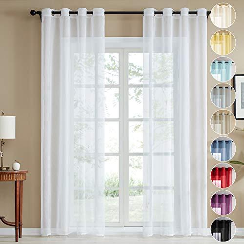 Topfinel Voile Vorhänge Leinenstruktur mit Ösen Durchsichtig Einfarbig für Fenster Wohnzimmer Schlafzimmer Moderne und Elegante Gardine 2er Set je 175x140cm (HxB) Weiß