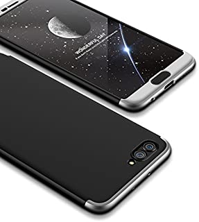 LEECOCO Huawei Honor View 10 Case Ultra Thin 3 in 1 360 Degree Full Body Protective Case Premium Slim Shockproof Hard PC Plastic Anti-Scratch Bumper Cover for Huawei Honor V10 3 in 1 Black Silver AR