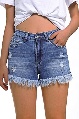 GOLDPKF Women's Denim Shorts Denim Cut Off Shorts for Women Distressed Shorts for Women Denim Shorts for Women high Waisted Womens Jeans Shorts Dark Blue Large