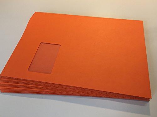 100 Fenster-Briefumschläge, Orange, C4 = 324 x 229 mm, mit Abziehstreifen, 120 g/qm